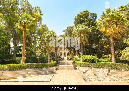 Israel, Mount of Beatitudes, Kinnerot: Cloister Gardens of Beatitudes church at the Sea of Galilee. - Stock Photo