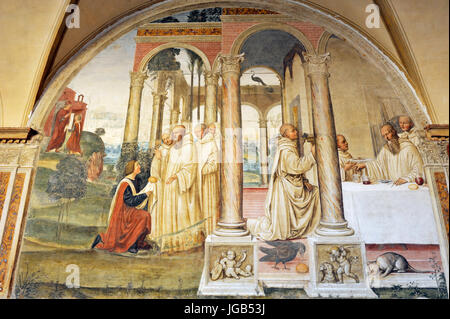 renaissance frescos, st Benedict life, painting by Il Sodoma, South side of Great Cloister, Abbey of Monte Oliveto - Stock Photo