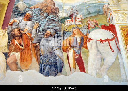 renaissance frescos, st Benedict life, painting by Il Sodoma, North side of Great Cloister, Abbey of Monte Oliveto - Stock Photo