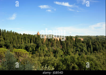 Abbey of Monte Oliveto Maggiore, Tuscany, Italy - Stock Photo