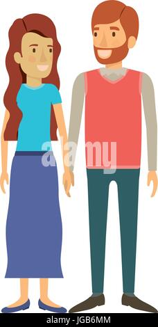 colorful silhouette of man and woman standing and her with long wavy hair and him in formal clothes and red beard - Stock Photo