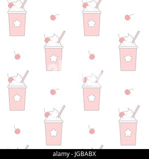 cute cartoon pink take-out plastic cup with whipped cream and cherry seamless vector pattern background illustration - Stock Photo