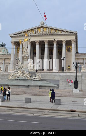 Portrait Street View of Austrian Parliament Building in Vienna, Austria - Stock Photo