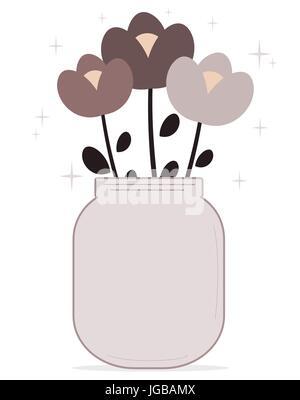 cute cartoon flowers in a lovely purple jar vector illustration - Stock Photo