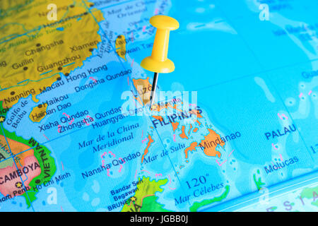 philippines pinned on a map of Asia - Stock Photo