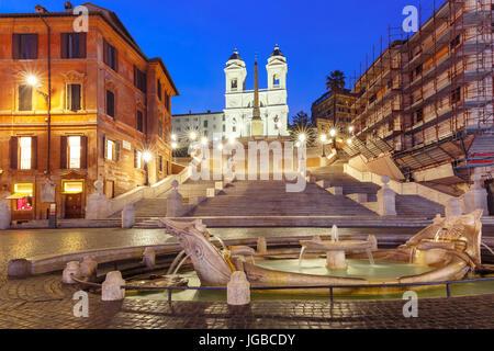 Spanish Steps at night, Rome, Italy. - Stock Photo
