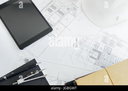 Drawings for building architectural project stock photo 130469602 drawings for building architectural project blueprint rolls and divider malvernweather Image collections