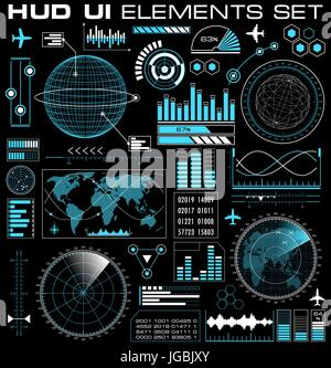 Set of futuristic graphic user interface HUD - Stock Photo