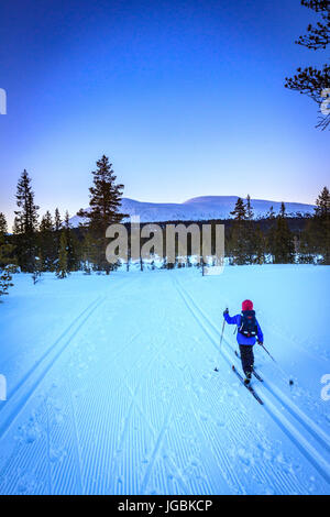 Young kid skiing cross country after sunset, with wonderful arctic light above the mount Trysilfjellet in Norway - Stock Photo