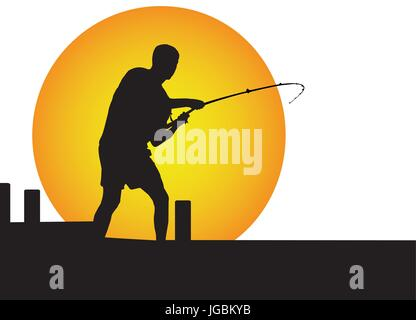 one man fishing in the moonlight on the jetty - Stock Photo