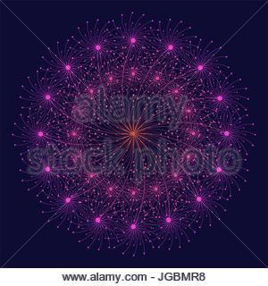 stylized firework flower in magenta on dark blue - Stock Photo