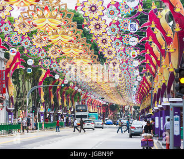 Republic of Singapore.  Serangoon Road, the main thoroughfare of the area known as Little India. The decorations - Stock Photo