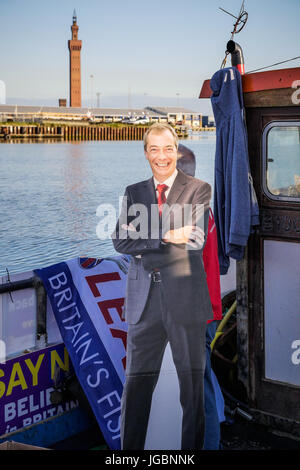 A fishing boat supporting leave the European Union referendum campaign. A cut out of Nigel Farage on deck with The - Stock Photo