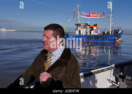 Mike Hookem MEP on board one of the support leaving the EU fishing boats during the Brexit referendum. - Stock Photo