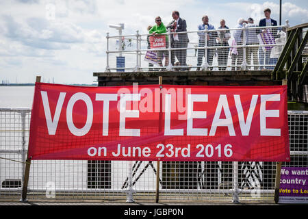 A vote leave poster at an event in Hull supporting The fishermen during The Europen Union referendum. - Stock Photo