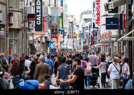 Europe, Germany, Cologne, the shopping street Hohe Strasse. - Stock Photo