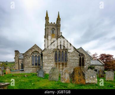 Church of St. Pancratius, Widecombe-in-the-Moor, Dartmoor, Devon, England, United Kingdom - Stock Photo