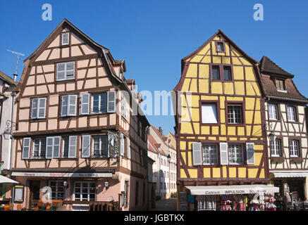 traditional colorful half-timbered houses in Colmar city, Alsace region, France - Stock Photo
