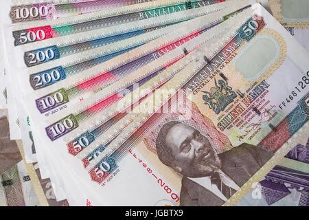 Kenyan Shilling Bank Notes In Various Denominations - Stock Photo
