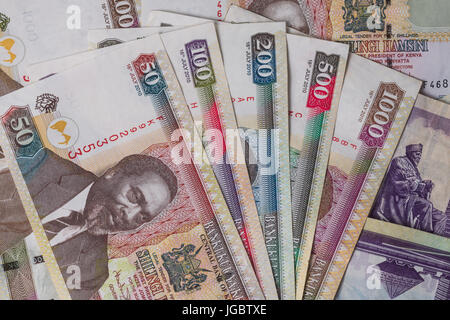 Kenyan Shilling Bank Notes In Various Denominations - Stock Photo