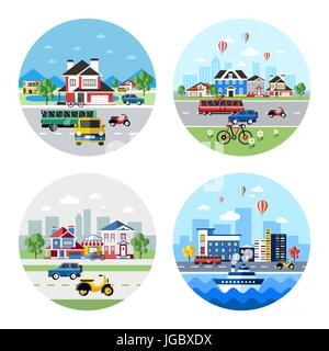 Digital vector blue city transport icons with drawn simple line art info graphic, presentation with car, motorcycle - Stock Photo