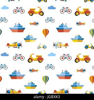 Digital vector blue red travel transport icons set with drawn simple line art info graphic, seamless pattern, presentation - Stock Photo