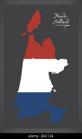 Noord-Holland Netherlands map with Dutch national flag illustration - Stock Photo