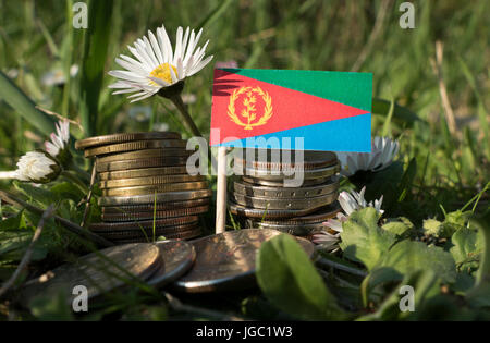 Eritrean flag with stack of money coins with grass and flowers - Stock Photo
