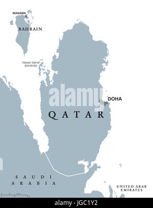 Qatar political map with capital Doha. State and sovereign country in Western Asia on northeastern coast of Arabian - Stock Photo
