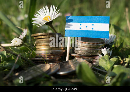 Honduras flag with stack of money coins with grass and flowers - Stock Photo