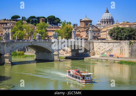 Ponte Vittorio Emanuele II, St. Peter's Basilica and Tiber, Rome, Italy - Stock Photo