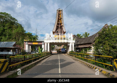 View of Rantepao in Tana Toraja, Sulawesi, Indonesia. Main entrance. - Stock Photo