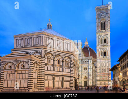Battistero San Giovanni, Cattedrale di Santa Maria del Fiore and Campanile di Giotto, Florence, Tuscany, Italy - Stock Photo