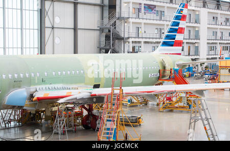 Hamburg, Germany. 12th Feb, 2016. FILE - An Airbus A320 plane is built at a production hall in Hamburg, Germany, - Stock Photo