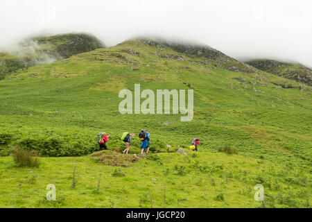 Ben Nevis, Scotland, UK - 6 July 2017: UK weather - thick low cloud with rain forecast in the foothills of Ben Nevis - Stock Photo