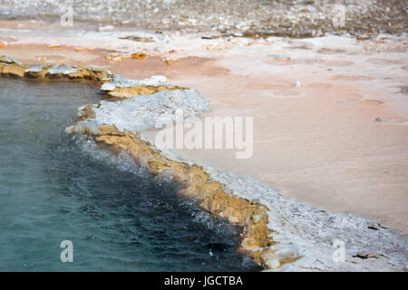 Detail of Crested Pool hot spring in Upper Geyser Basin near Old Faithful Area in Yellowstone National Park - Stock Photo