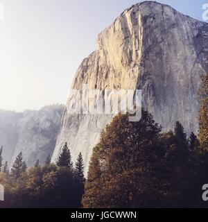 Sunlight on a rock in yosemite valley - Stock Photo