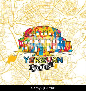 Yerevan Travel Secrets Art Map for mapping experts and travel guides. Handmade city logo, typo badge and hand drawn - Stock Photo