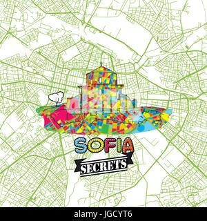 Sofia Travel Secrets Art Map for mapping experts and travel guides. Handmade city logo, typo badge and hand drawn - Stock Photo