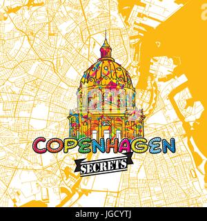 Copenhagen Travel Secrets Art Map for mapping experts and travel guides. Handmade city logo, typo badge and hand - Stock Photo