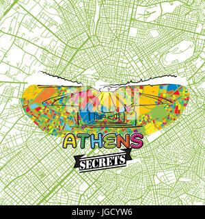 Athens Travel Secrets Art Map for mapping experts and travel guides. Handmade city logo, typo badge and hand drawn - Stock Photo