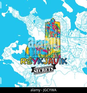 Reykjavik Travel Secrets Art Map for mapping experts and travel guides. Handmade city logo, typo badge and hand - Stock Photo