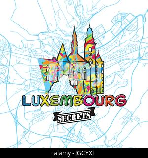 Luxembourg Travel Secrets Art Map for mapping experts and travel guides. Handmade city logo, typo badge and hand - Stock Photo