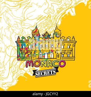 Monaco Travel Secrets Art Map for mapping experts and travel guides. Handmade city logo, typo badge and hand drawn - Stock Photo