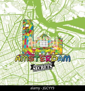 Amsterdam Travel Secrets Art Map for mapping experts and travel guides. Handmade city logo, typo badge and hand - Stock Photo