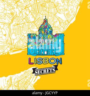Lisbon Travel Secrets Art Map for mapping experts and travel guides. Handmade city logo, typo badge and hand drawn - Stock Photo