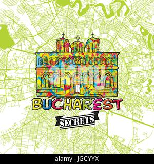 Bucharest Travel Secrets Art Map for mapping experts and travel guides. Handmade city logo, typo badge and hand - Stock Photo