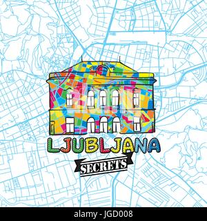 Ljubljana Travel Secrets Art Map for mapping experts and travel guides. Handmade city logo, typo badge and hand - Stock Photo