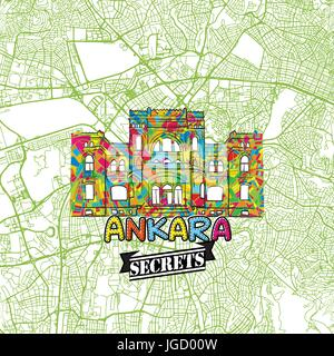 Ankara Travel Secrets Art Map for mapping experts and travel guides. Handmade city logo, typo badge and hand drawn - Stock Photo