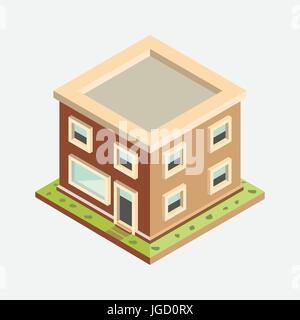 Flat 3d Isometric House, Building Private Property, Real Estate Flat Design - 3D Vector Illustration - Stock Photo